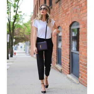 Chico's Straight Cropped Black Trouser Pants Black